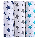 #3: haus & kinder Twinkle Collection 100% Cotton Muslin Swaddles, Oversized, Extra Soft to Baby Delicate Skin, Unisex - Pack of 3 (Size 100 cm by 100 cm)