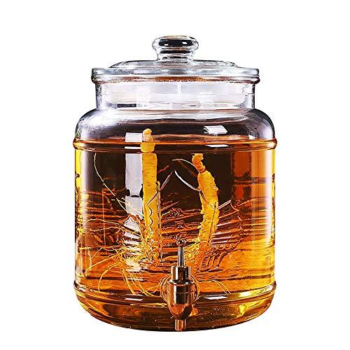 Beverage Dispenser YAN SYF Runder Glas-Einmachglas-Getränkespender Mit Metallzapfen Und Glasdeckel, 5L ~ 20L A+ (Farbe : 17L-Copper Spigot) - Glas Dispenser Spigot