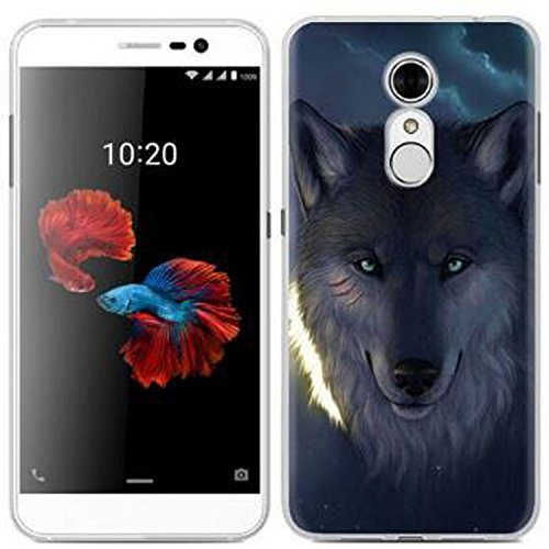 Yrlehoo Für ZTE Blade A910, Premium softe Silikon Schutzhülle für ZTE Blade A910 Tasche Case Cover Hülle Etui Schutz Protect, Wolf
