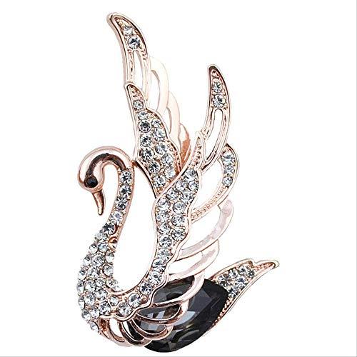 FGYNHVDG Young Tulip Crystal Swan Broches para Las Mujeres Elegantes Nobles Pins Rhinestone Vestido...