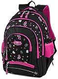 Schulrucksack,Coofit Mädchen Schulrucksack Rucksack Kinder Rucksäcke Schülerrucksacks Schulranzen Tasche (Schwarz und Rose) (Schwarz und Rose)