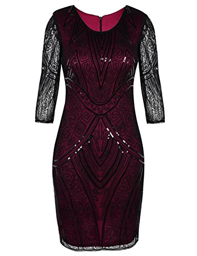 PrettyGuide Damen 1920s Gatsby Kleid Art Deco Langarm Vintage Flapper Kleid L Burgund