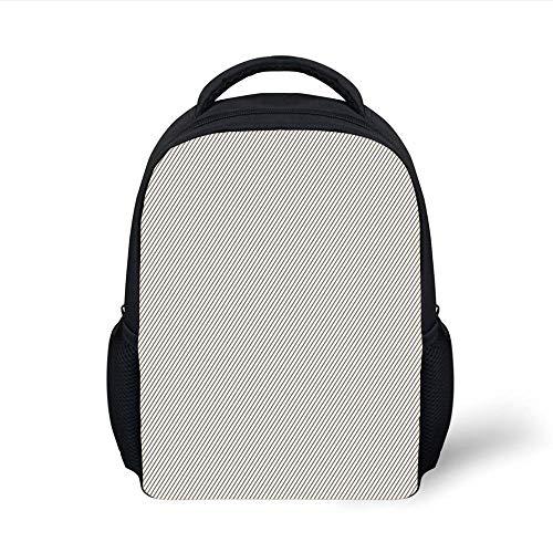 Kids School Backpack Retro,Diagonally Narrow Stripes Geometrical Classical Lines Pattern Simple Elegance Print,Cocoa White Plain Bookbag Travel Daypack -