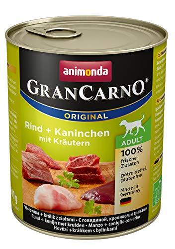 Animonda GranCarno Hundefutter Adult, Nassfutter für ausgewachsene Hunde von 1 - 6 Jahren, Rind und Kaninchen mit Kräutern, 6er Pack (6 x 800g) (Fleisch Kaninchen Frische)