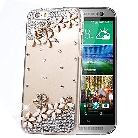 HTC One M8 Hülle Sense TE Strass [3D Handgefertigt] Diamant Serie [Einfach Design Blumen Diamant Schmuckstück]Bling Schutz Handy Tasche Kristall Transparent Case klar Cover Hülle für HTC One M8 mitRetro Anti Staub Stecker-