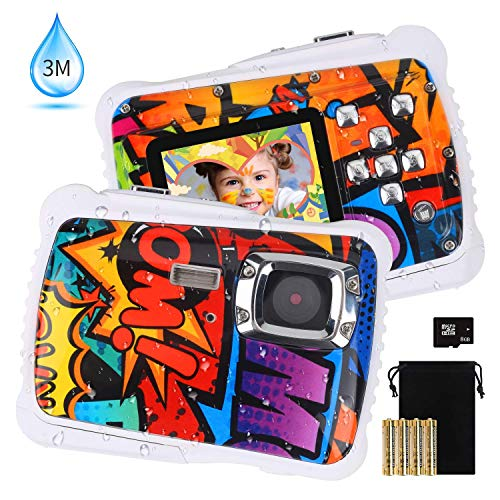 """wasserdichte Kinderkamera DECOMEN Digitale Unterwasserkamera 12MP HD Action Sport Camcorder mit 2,0"""" LCD 8X Digitalzoom Blitz Mikrofon und 8G SD-Karte"""