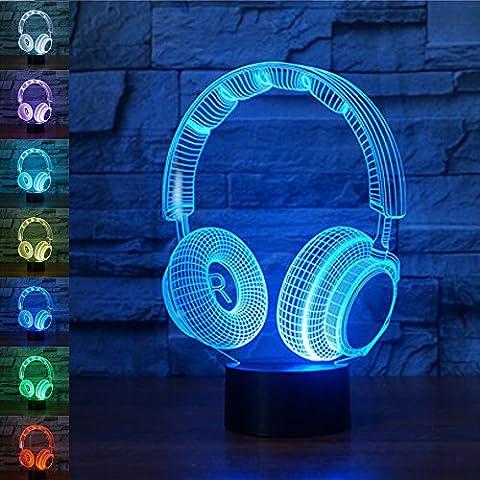 jawell 3D ILLUSION Lampe Nachtlicht Wireless Kopfhörer 7wechselnden Farben Touch USB Tisch NICE decorationstoys Geschenk