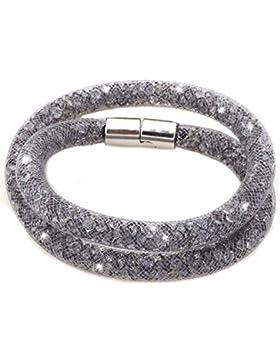 Stardust Armband Kristallzirkonium Brilliant Strass double wiederum Magnetverschluss Grau