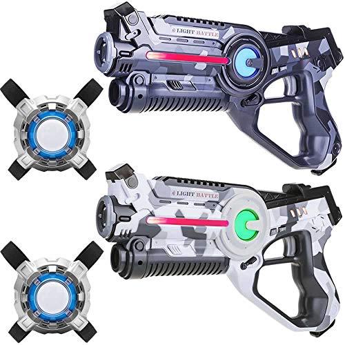 Light Battle Infrarouge Pistolets. Laser Game Pistolets: 1x Camo Gris, 1x Camo Blanc + 2 Laser Game Plastrons   LBAPV22267