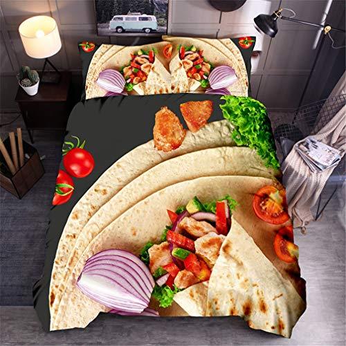 Stillshine. Kuschel Bettbezug Kinder Burrito Wrap Burritos Burger Hühnerbrötchen Maisbrötchen Bettwäsche Set Sommer Essen Freizeit Spätestens Kreative (Burrito, 135 x 200 cm)