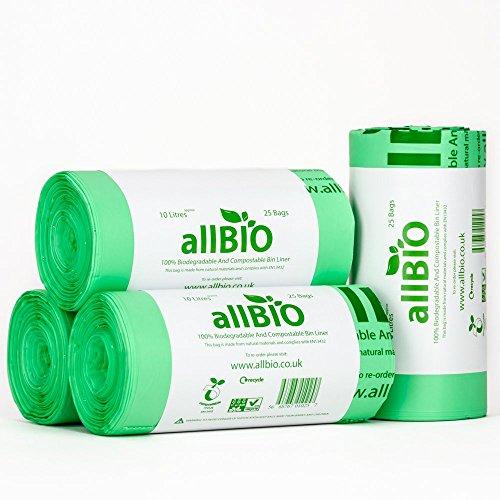 10 litri x 100 sacchetti allbio sacchetti pattumiera organico 100% biodegradabili e compostabili 10 litri/sacchetti contenitore rifiuti