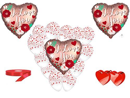 San valentino pallone foil cuore supershape forma cuore kit bouquet centrotavola festa amore innamorati - cdc - (1 pallone foil cuore satinato,10 palloncini, 1 pesetto,1 nastro rosso )