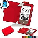 Forefront Cases® Tolino Page Shell Hülle Schutzhülle Tasche Bumper Folio Smart Case Cover Stand mit LED Licht - Leicht mit Rundum-Geräteschutz inkl. Eingabestift und Displayschutz (Rot)