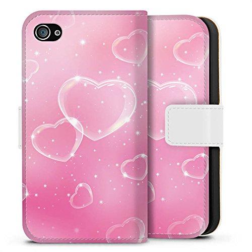 Apple iPhone X Silikon Hülle Case Schutzhülle Herz Liebe Pink Sideflip Tasche weiß