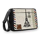 MySleeveDesign Messenger Bag Laptoptasche Notebooktasche mit Tragegurt - Tasche für Laptop & Notebook der Größen 13,3 Zoll / 14 Zoll / 15,6 Zoll / 17,3 Zoll - VERSCH. Designs - Paris Stamp - 15