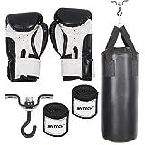 AUFUN Boxsack Set Gefüllt Schwarz-für Kinder und Erwachsene-mit Boxhandschuhen, Boxbandagen und Tasche-Ideal für Boxen und Kickbox Training