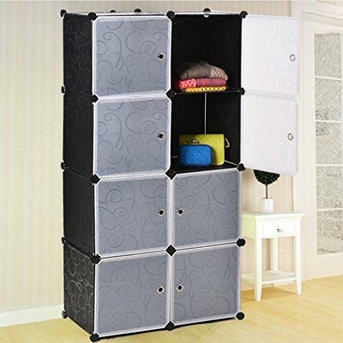 Creine DIY Regalsystem Kleiderschrank Kunststoff Aufbewahrung Badregale Kleiderschrank Schuhregal Sideboard 8 Kubus, 72 x 36 x 144 cm (Acht Sideboard)