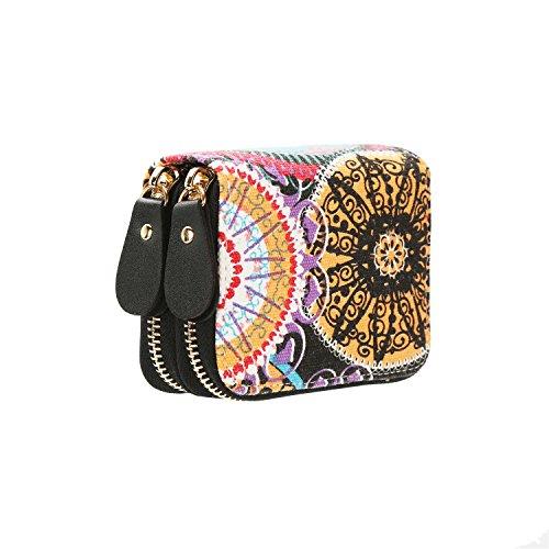 Zwei Reißverschluss-geldbörsen (Très Chic Mailanda Geldtasche Eule Geldbeutel Tasche Portemonnaie umlaufende Reißverschlüsse mit Design Eulen groß für Damen Blume (Orange 2))