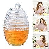 Beehive Style Glass Honey Jar Recipiente Honey Pot Contenedor Cup con Stir Bar - 265ML, 9 oz