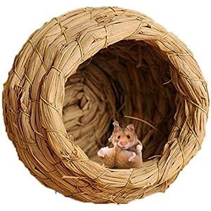 PRIMI Kleine Furry Tiere handgewebte Stroh Bird Nest Käfig Schraffur Zucht Höhle