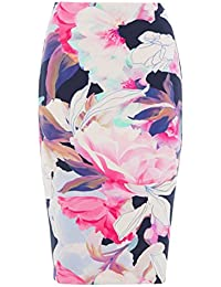 Roman Originals Women's Floral Print Scuba Pencil Knee Length Skirt Ladies Pink Multicoloured