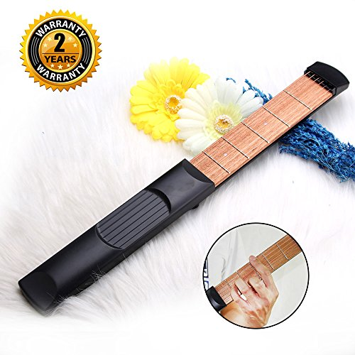 Guitarra de bolsillo, 6 cuerdas traseras, herramienta de práctica portátil con herramienta de afinación para principiantes, entrenadores de cuerdas de dedo, de Oibtech