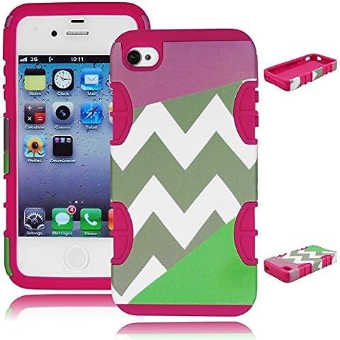 Resistente Bastex custodia ibrida per Apple iphone 4, 4 G, 4s 4gs - Hot in Silicone rosa - Tri Split Chevron viola e verde foglia di tè Design Cover rigida - Viola Chevron Stripes
