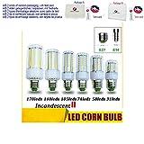 Lampadina LED del cereale 50W 40W 30W 25W 15W 12W lampada ad incandescenza sostituita da E14 E27 LED del cereale della lampadina 5730 SMD 85-265V, Cold White, E27 170LEDS