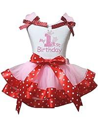 Petitebelle Mein 1. Geburtstag weißes Hemd Punkte rot Band Rosa Petal Rock  ... d7cb40f324