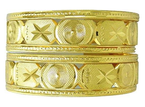 Bollywood Ethnischen 18K Vergoldetes Armreifen Den Asiatischen Traditionellen Schmuck-Geschenk-Set Für Ihre 2 * 12