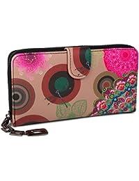 styleBREAKER portefeuille à motifs de fleurs ethniques differents, dessin vintage, fermeture à glissière toute autour, femmes 02040040