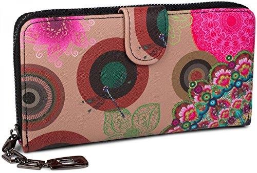 styleBREAKER portefeuille à motifs de fleurs ethniques differents, dessin vintage, fermeture à glissière toute autour, femmes 02040040, couleur:Beige-...