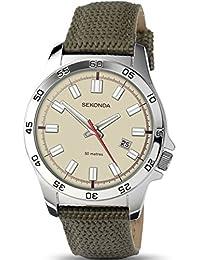 Sekonda para hombre reloj de cuarzo con esfera marrón pantalla y fecha 50m resistente al agua reloj 1145