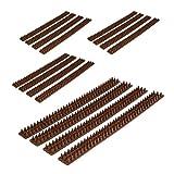 Relaxdays 16x Vogelabwehr, je 49 cm, mit Spikes, Gesamtlänge 8m, witterungsresistent, Tierabwehr für Zäune und Mauern, Dunkelbraun