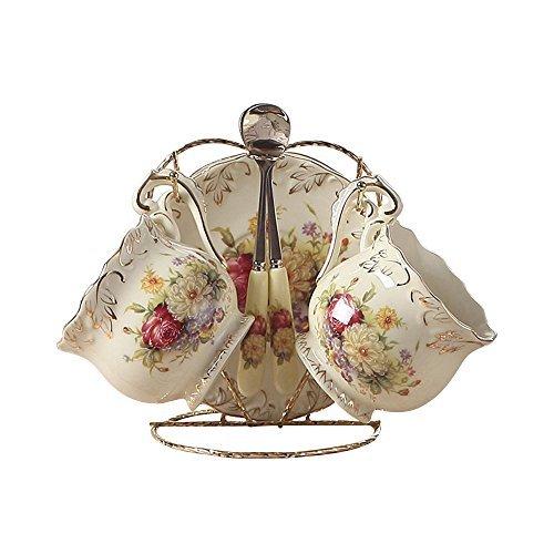 4 Stück Europäisches Königliches Elfenbein Porzellan Tee Set, Roter Und Weiß Rosen Druck Weinlese Service Kaffee Set Mit Metall Ständer, Für Hochzeit Und Haushalt