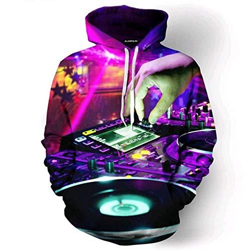 XYL HOME Hoodie,Männer und Frauen realistische 3D-Druck DJ Live-Tuning Pullover Kapuzen Sweatshirt Hoodie große Tasche, M