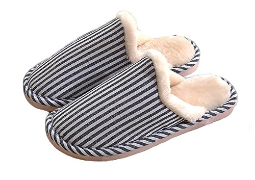 Auspicious beginning Chaussures de chambre à coucher à rayures verticales Bleu
