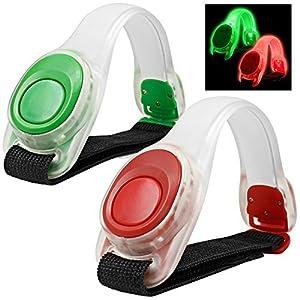 2pcs / pack MAXIN Bras léger lumineux LED, Silicone réfléchissant Running Gear, Bracelet LED Glow dans le Dark - bande de slap de sécurité pour le vélo Runing, jogging haute visibilité. (Vert et rouge)