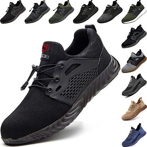 BAOLESEM Sicherheitsschuhe Herren S3 Arbeitsschuhe Herren Damen Leicht sportlich Schutzschuhe mit Stahlkappen Sneaker,a-schwarz,eu45