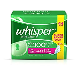 Whisper Ultra Clean Sanitary Pads - 43 Count XL Wings Super Saver Pack