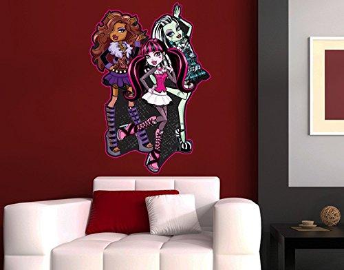 Klebefieber Wandtattoo Clawdeen, Frankie & Draculaura B x H: 40cm x 58cm (Monster High Ghoulia Brille)