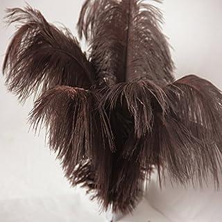 Brun Lot de 10 plumes d'autruche véritables pour décoration de mariage 30–35 cm