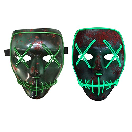 Halloween Costume Mask Luminous Skull Full Face Mask Horror Skeleton Cosplay Masquerade Scary El Wire LED Light Flashing Mask Glow in Dark for Carnival Festival (Halloween Film Scary)