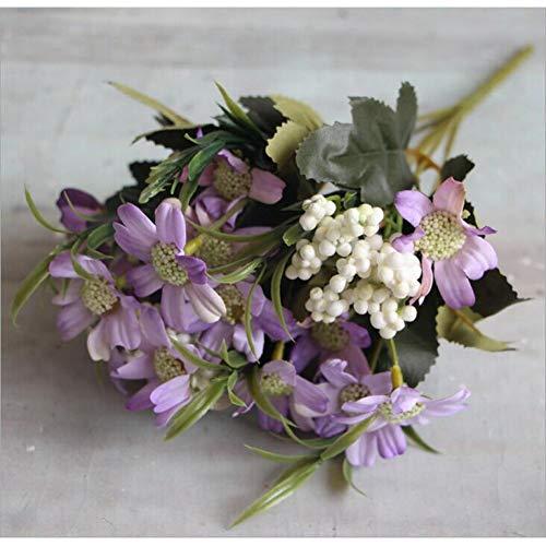 VHJVB Künstliche Blumen 6 Zweige Daisy Bouquet Silk Flower Home Wohnzimmer Dekor Dekorieren Blumen Daisy, Lila - Silk Flower Bouquet Lila