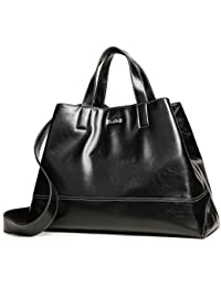 Kadell Women Pu Leather Tote Bag Handbags Satchel Purse Top Handle Triangle Shoulder Bag Black