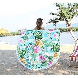 Xinjiener Manta Suave del Abrigo del mantón de la Toalla de la Playa de la impresión de la piña de la Flor de 1 PC