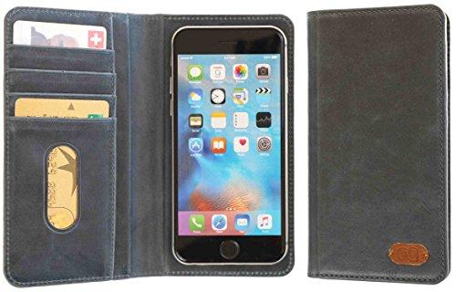 3Q Luxus Universal Handy-Hülle 5 Zoll bis 5.5 Zoll bis 4 Zoll Luxus Leder-Optik Durchdachtes Schiebemechanismus für Fotos Handy-Tasche Etui mit Fächern für Kreditkarte Visitenkarte Ausweis Schweizer Premium Design und Verpackung Flip Case Blau
