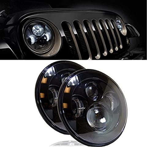 Hunpta LED 7 Inch Round Projector Headlights Black Housing Low/High H6024 H6012 (Pair) (Black)