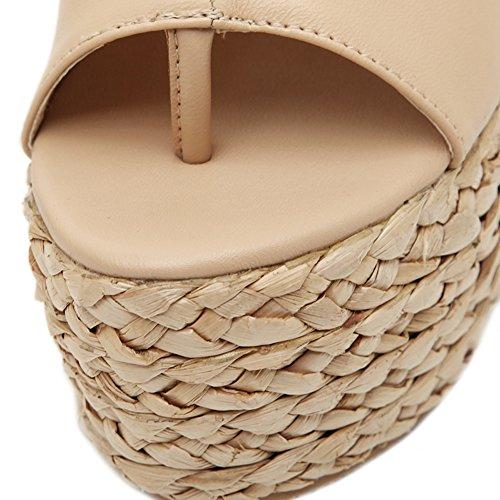 HooH Femmes Sandales Weave Talon Platform Slingback Chaussures compensées Beige