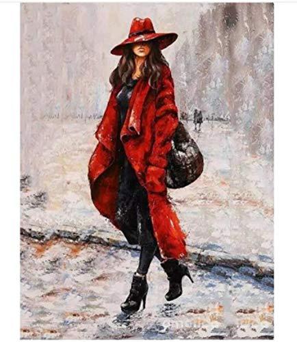 HNZZLC Ölgemälde,Canvas DIY,Erwachsenen Digital Painting,Romantik,Geschenk,Artwork Set,Entry Crafts,Entspannung,Dekorationen,Rot,Backpack Girl,40X50Cm Digital Backpack Kit